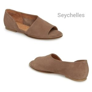 SEYCHELLES Passport Taupe Suede D'Orsay Style Flat